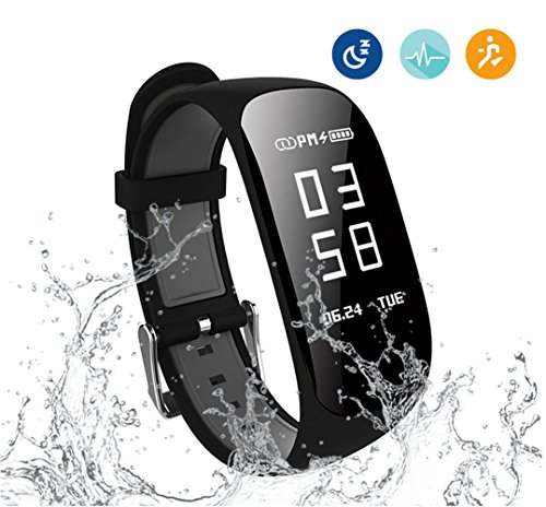 Kortusa Fitness Tracker Waterproof Wireless Activity Trackers with Heart Rate Monitor, Sleep Monitor, Pedometer Calorie Counter Bluetooth 4.0 for Android & iOS Smart Fitness Watch for Kids Men Women