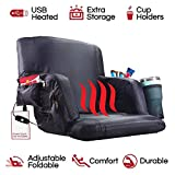 POP Design The Hot Seat, Heated Stadium Bleacher Seat, Reclining Back and Arm Support, Thick Cushion, 4 Storage Pockets Plus Cup Holder, Extra Wide Feature, Battery Pack Not Included