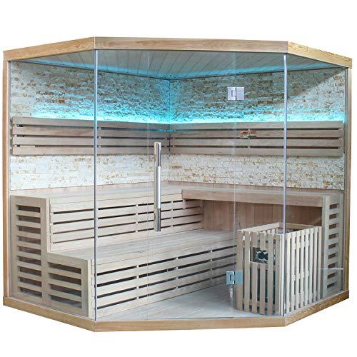 Traditionelle Saunakabine/Finnische Sauna Espoo 200 Naturstein 8 kW