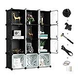 GREENSTELL Cube Storage Organizer, Plastic Closet Organizer with Doors, 12-Cube DIY Storage Cubes...