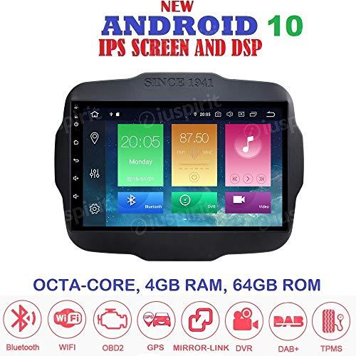 ANDROID 10.0 autoradio navigatore per Jeep Renegade 2014-2018 GPS WI-FI Bluetooth MirrorLink Octa-Core