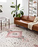 Loloi ll Skye Collection Printed Distressed Vintage Area Rug, 7'-6' x 9'-6', Ivory/Berry