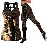 E.Rirevce Love Horse 3D Imprimé Hollow Out Tank Tanking Encyclopédie Vêtements de Yoga...