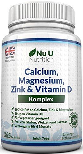Calcium, Magnesium, Zink & Vitamin D Ergänzungsmittel | 365 Vegetarische Tabletten | Versorgung für 6 Monate des Nu U Osteo Ergänzungsmittel