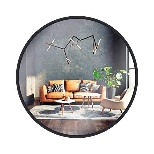 Gold&Chrome Runder Spiegel im Rahmen 53 cm, Wandspiegel, Schminkspiegel, Mirror für Badzimmer, Ankleidezimmer oder Wohnzimmer, Schwarz