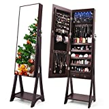 TUSY LED Mirror Jewelry Cabinet Lockable Full Mirror Jewelry Organizer, Large Capacity Standing Mirror with Jewelry Storage Armoire, Brown