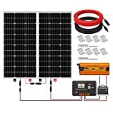 ECO-WORTHY 200W 24V Off Grid Solar Panel Kit:100W Solar Panel+20A Controller Charge Intelligent Controller+600W 24V Pure Sinus Inverter +other Accessories for Boats Camping