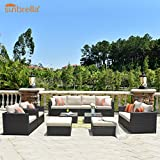 ovios Patio Furniture Set, Big Size Sunbrella Outdoor Furniture 12 Pcs Sets,PE Rattan Wicker sectional with 4 Pillows and 2 Covers, No Assembly Required (12 Piece Big Size, Beige Sunbrella)