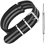 SELECT CORRECT WIDTH: 18mm, 20mm, 22mm, or 24mm (NOT SUITABLE FOR SMART WATCHES) Length 270mm, adjustable – fits most wrists ONE PIECE NATO STRAPS: Wide range of colours and multi-stripes | Quick to interchange | Easy slip-through replacement method ...