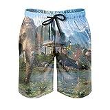 Dessionop Pantalones cortos de playa para hombre, diseño de animales salvajes, con forro de bolsillo, color blanco