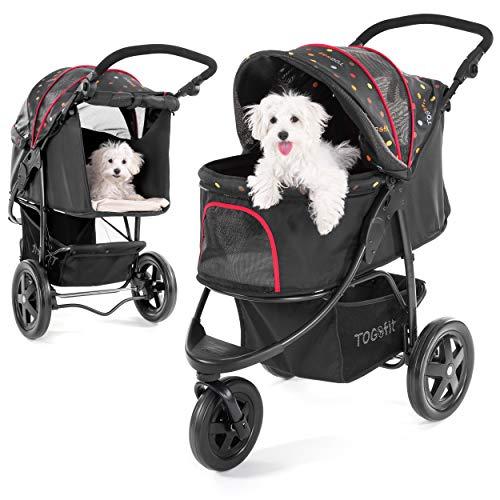 TOGfit Pet Roadster | Luxe hondenwagen | Tot 32 kg | Klein opvouwbaar | Zwart