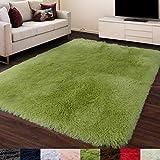 Grass Green Area Rug for Bedroom,4'X6',Fluffy Shag Rug for Living Room,Furry Carpet for Kids Room,Shaggy Throw Rug for Nursery Room,Fuzzy Plush Rug,Green Carpet,Rectangle,Cute Room Decor for Baby