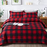 Andency Red Buffalo Check Comforter Queen(90x90Inch), 3 Pieces (1 Plaid Comforter and 2 Pillowcases) Red Plaid Comforter Set, Lightweight Microfiber Geometric Plaid Comforter Bedding Set