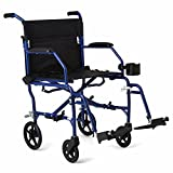 "Medline Mobility Ultralight Transport Wheelchair, 19"" Wide Seat, Permanent Desk-Length Arms, Swing Away..."