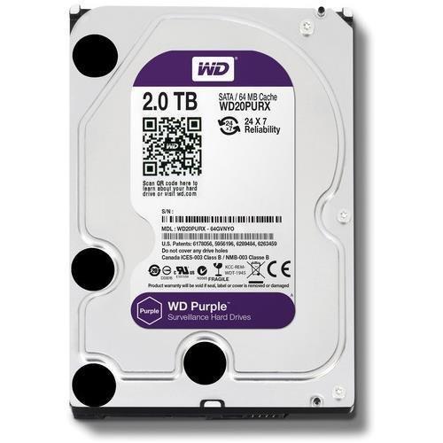 Western Digital WD Purple Disco duro interno 2000 GB, SATA III, 6000 Mbit / s, 5400 rpm, 64 MB, 3,50 pulgadas