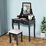 Kariwell Vanity Makeup Table Wooden Stool 3 Mirrors and 5 Organization Drawers Set E1 Grade Environmental MDF+Solid Wooden for Bedroom [Ship from US]