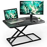 Standing Desk Converter Height Adjustable Sit to Stand Desktop Desk Gas Spring Riser, Perfect Workstation 29.3 inches for Laptop & Computer Monitors by HUANUO
