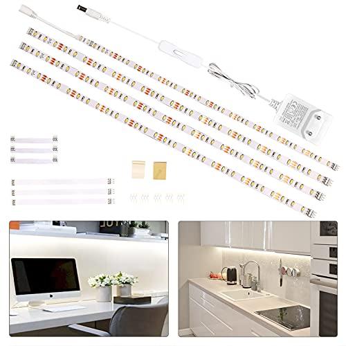 Wobsion striscia led bianca 2m, 4X50cm luci led striscia,strisce led adesive,strisce led 220v da interno,luci sottopensile cucina 1200 LM 6000K,striscia led bianco naturale,luci sotto pensili cucina