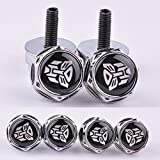 D&R 4 Pcs Chrome Car parts Auto Logo Stainless Replacement License Plate Frame Screw Bolt Caps Covers emblem With Autobot The Transformers