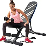 Merax Adjustable Workout Bench with Resistance Bands, Folding Utility 500LBS Super Max Weight Bench 7 Position...
