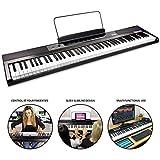 Piano numérique RockJam pour débutant à 88 touches avec touches semi-lestées pleine grandeur, alimentation et haut-parleurs intégrés