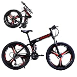24Inch Mountain Bike, 21- Speed Folding Mountain Bikes with High Carbon Steel Frame, Full Shockproof Bicycle Disc Brake, MTB Outdoor Foldable Bicycle Cruiser Bicycles for Youth/Adult
