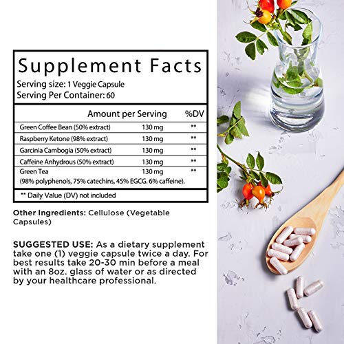 Immune Support Garcinia Cambogia Weight Loss HCA - Pure Green Coffee Bean Appetite suppressant Control Supplements Green Tea EGCG Energy Workout Boost - Detox Cleanse Supplement Natures Craft 9