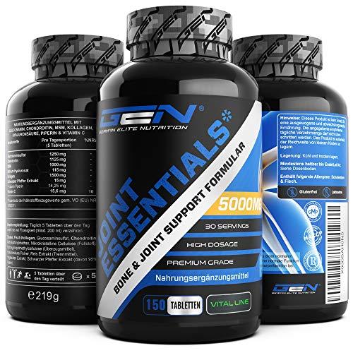 Joint Essentials - 150 Tabletten - Hochdosiert mit 5000 mg pro Tag - Glucosamine + Chondrotin + MSM + Hyaluronsäure + Kollagen + Vitamin C + Schwarzer Pfeffer Extrakt - Gelenk Supplement