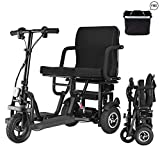 EazinGo Portable Travel Scooter 3-Wheel Foldable Mobility Scooter Travel Electric Scooter Lightweight Mobile Support 260 lb Weight Only 48 lbs Long Range(15 Mile)