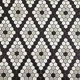Soulscrafts Porcelain Ceramic 1 Inch Hexagon Mosaic Tile for Kitchen Backsplash Bathroom Floor & Wall Tile (Diamond; White, Black & Grey Mixed;10 Sheets/Box)