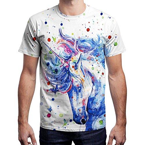 BesserBay - Camiseta Blanco Unicornio Large