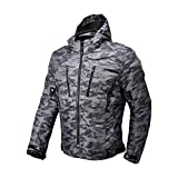 Motorcycle Camo Riding Jacket,All Seasons Waterproof Removable CE Armored Anti-impact Thermal Motorbike Jacket for Men (4XL)