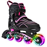 Otw-Cool Adjustable Inline Skates for Kids and Adults, Outdoor Blades Roller Skates with Full Light Up LED Wheels, Safe and Durable Inline Roller Skates for Girls and Boys, Men and Women (Small)