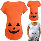 Qiaonai Tops for Pregnant Woman Pumpkin Carved Face Halloween Printed Maternity Clothes Tee Shirt Pregnancy Clothes (S, Orange)