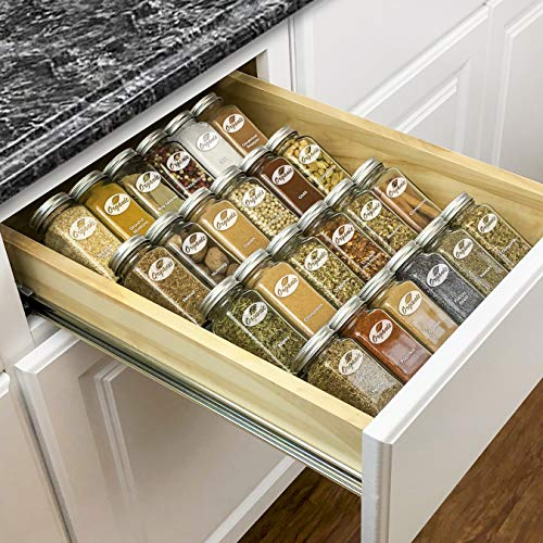 Lynk Professional Spice Rack Tray Insert-4 Tier Heavy Gauge Steel Drawer Organizer for Kitchen Cabinets, Medium,...