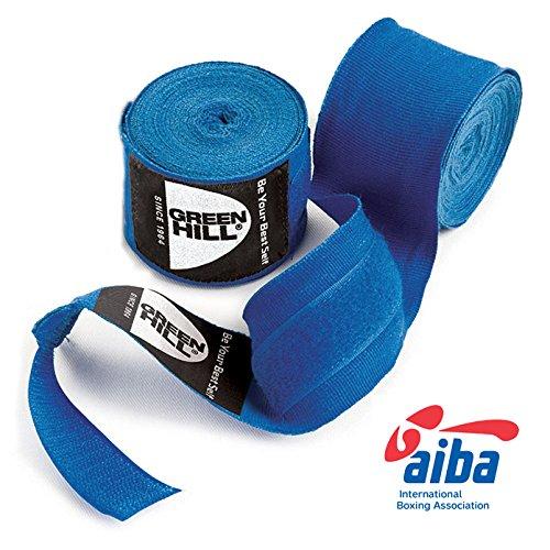 GREEN HILL Vendajes DE Mano Boxeo ELÁSTICAS Kick Boxing Venda ELÁSTICA Negro Rojo Azul Aprobado AIBA HOMOLOGADO (Azul, 4.5 m)