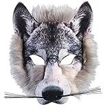 Forum Novelties Wolf Realistic Fur Face Mask, Grey, One Size
