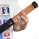 Yafine R26Outil guitare de poche pratique en bois avec cordes, portable–Noir.