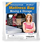UltraBlock Mattress Bag for Moving, Storage or Disposal - King and Cal King Size Heavy Duty Triple Thick 6 Mil Tear and Puncture Resistant Bag with Two Extra Wide Adhesive Strips