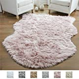 Gorilla Grip Original Premium Faux Sheepskin Fur Area Rug, 3 FT x 5 FT, Softest, Luxurious Carpet Rugs for Bedroom, Living Room, Luxury Bed Side Plush Carpets, Sheepskin, Dusty Rose