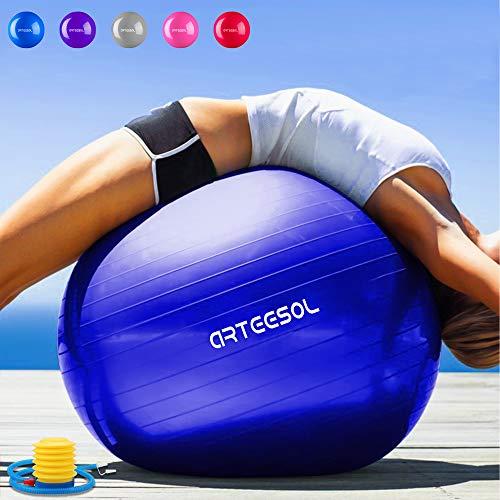 Arteesol - Pelota de ejercicio 45 cm, 55 cm, 65 cm, 75 cm, antideslizante, antiestallido,...