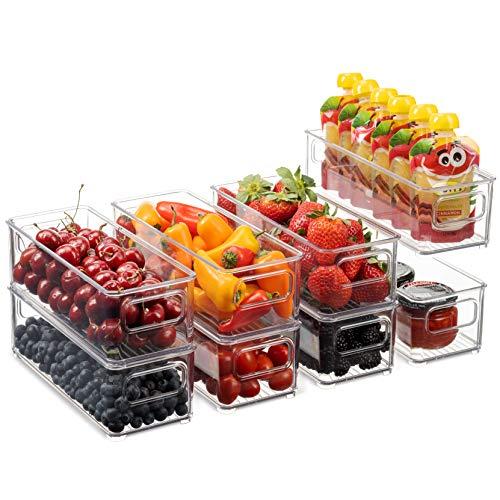 Set Of 8 Stackable Plastic Food Storage Bins - Refrigerator...