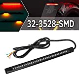 Partsam Universal LED Strip for Motorcycle License Plate Tail Brake Stop Turn Signal Light Strip 32LED 8' Flexible Third Brake Light for Motorbikes ATV Scooters