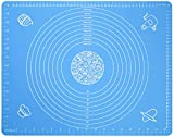 Silicone Baking Mat for Pastry Rolling Dough with Measurements - 19.7' x 15.7' BPA Free Non stick and Non Slip Blue Table Sheet Baking Supplies for Bake Pizza Cake