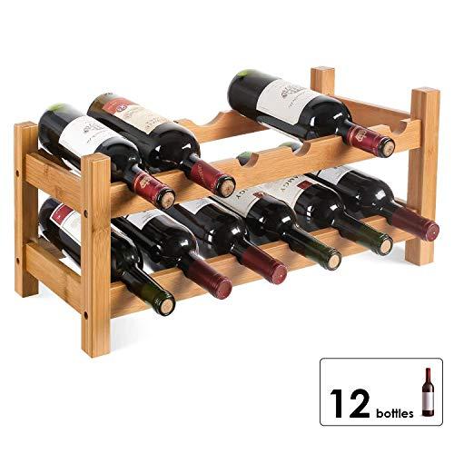 HOMFA Cantinetta Portabottiglie in Bamb per 12 Bottiglie, Scaffale Legno Porta Vino a Tavolo da Casa...