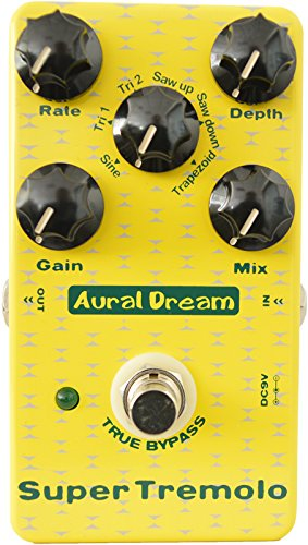 Aural Dream Super Tremolo Guitar Effect Pedal includes 6 modulation waveforms with Rate,Depth,Mix and Gain adjustment,True bypass.