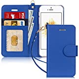 FYY Case for iPhone SE/iPhone 5S/iPhone 5, [Kickstand Feature] Luxury PU Leather Wallet Case Flip Folio Cover with [Card Slots][Wrist Strap] for iPhone SE/iPhone 5S/iPhone 5-Navy Blue