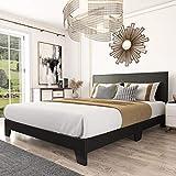 Amolife King Size Faux Leather Upholstered Platform Bed Frame with Adjustable Headboard and Wood Slat Support, Black