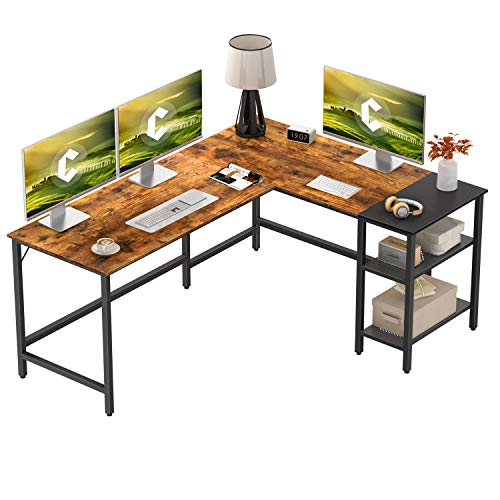 CubiCubi L Shape Computer Desk with Storage Shelf Study Writing Table...