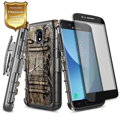 NageBee Samsung Galaxy J7 2018 Case, J7 Refine /J7 Crown/ J7 Star/ J7 V 2nd Gen/J7 Aura/J7 Aero with Tempered Glass Screen Protector, Belt Clip Holster Heavy Duty Shockproof Combo Phone Case -Camo